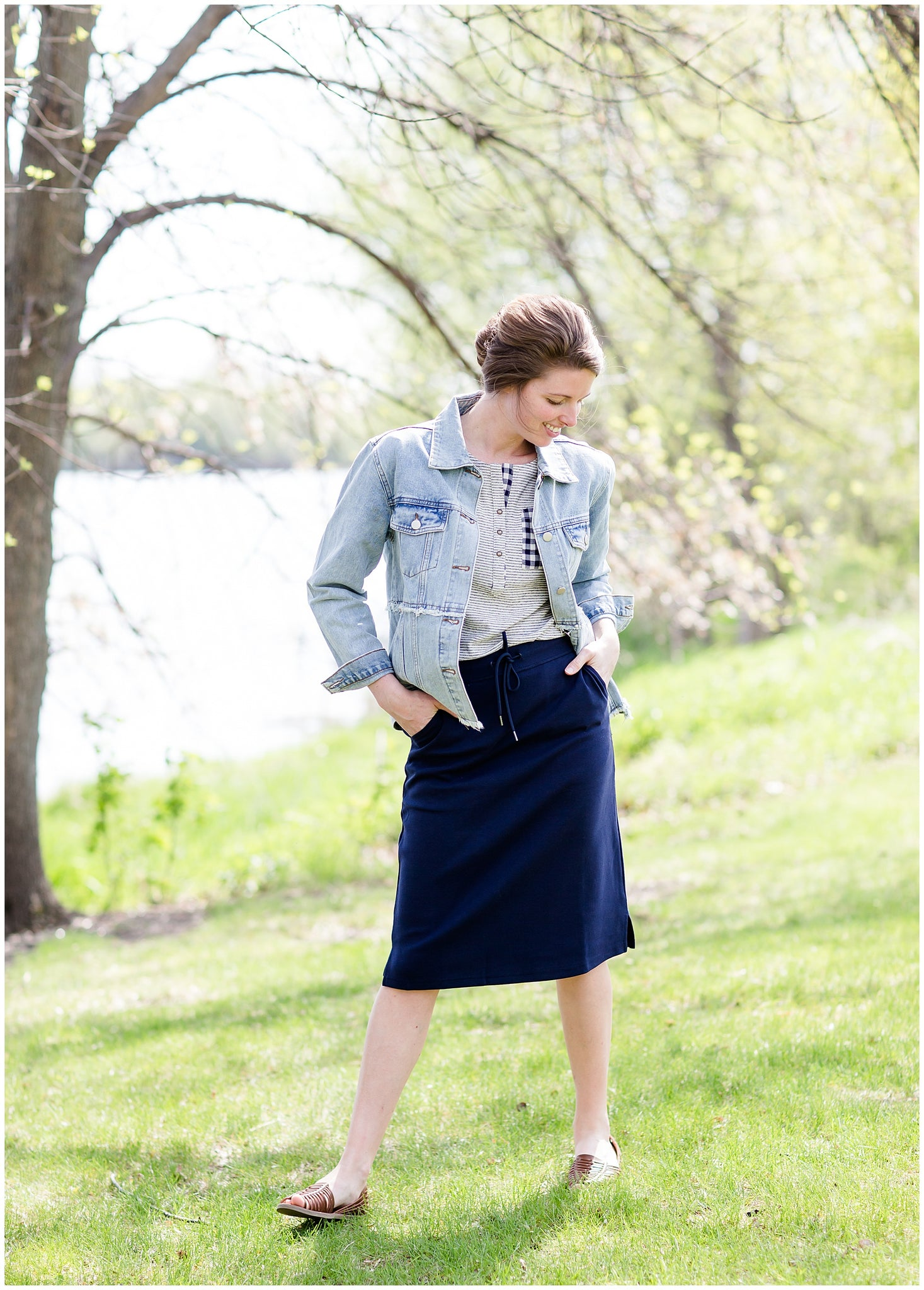 modest navy below the knee sweat skirt