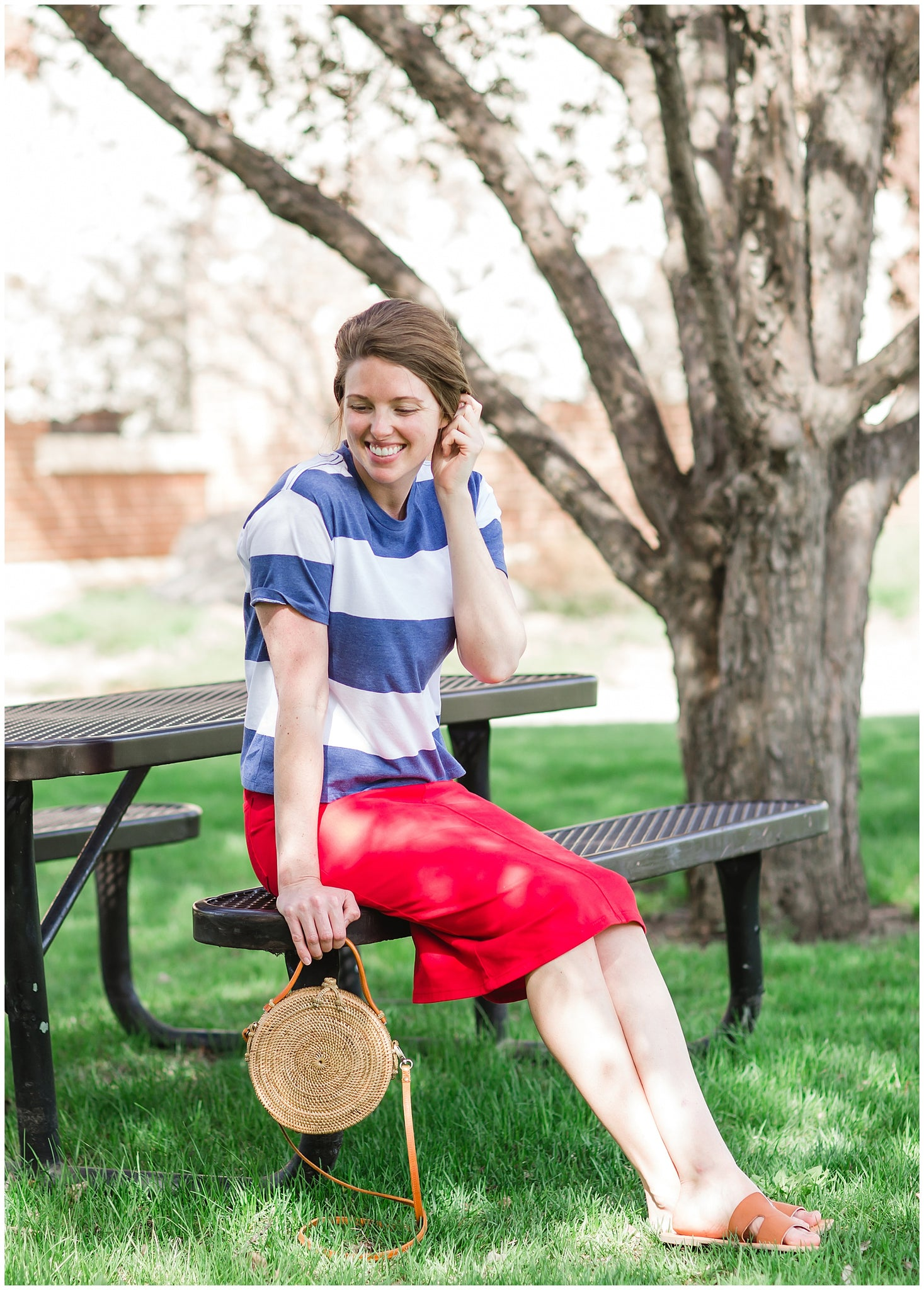 red white and blue patriotic striped tee and midi skirt
