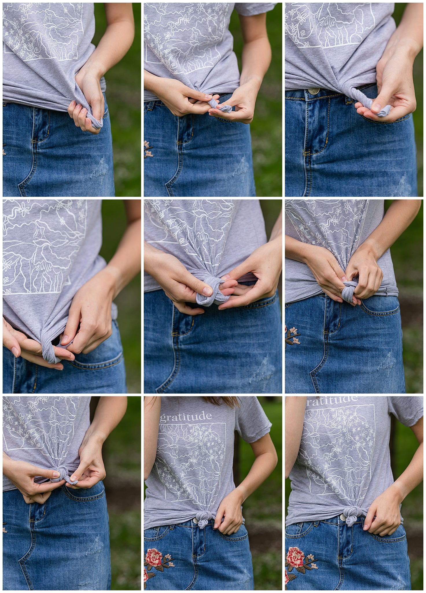 tutorial on how to tie a front knot in your tee shirt