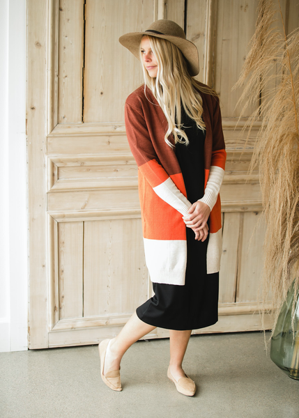 Burgundy & Rust Color Block Cardigan