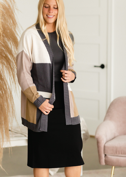 Charcoal Color Block Cardigan