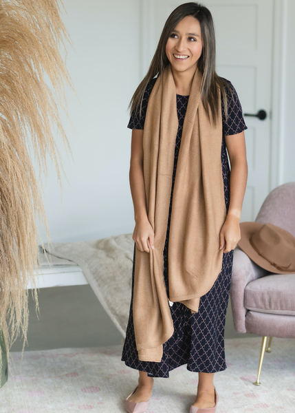 Taupe Knit Stitched Scarf