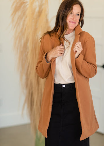 Collared Button Front Camel Jacket