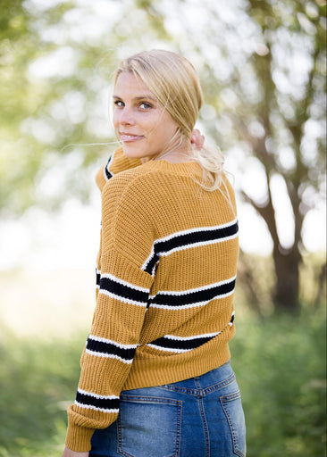 Color Block Knit Striped Sweater
