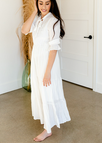 Pleated Ivory Tiered Maxi Dress