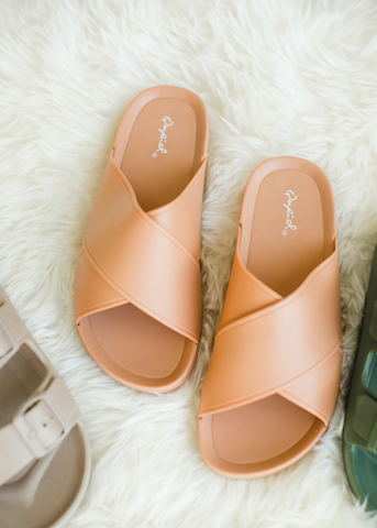 Blush Frost Crossed Sandals