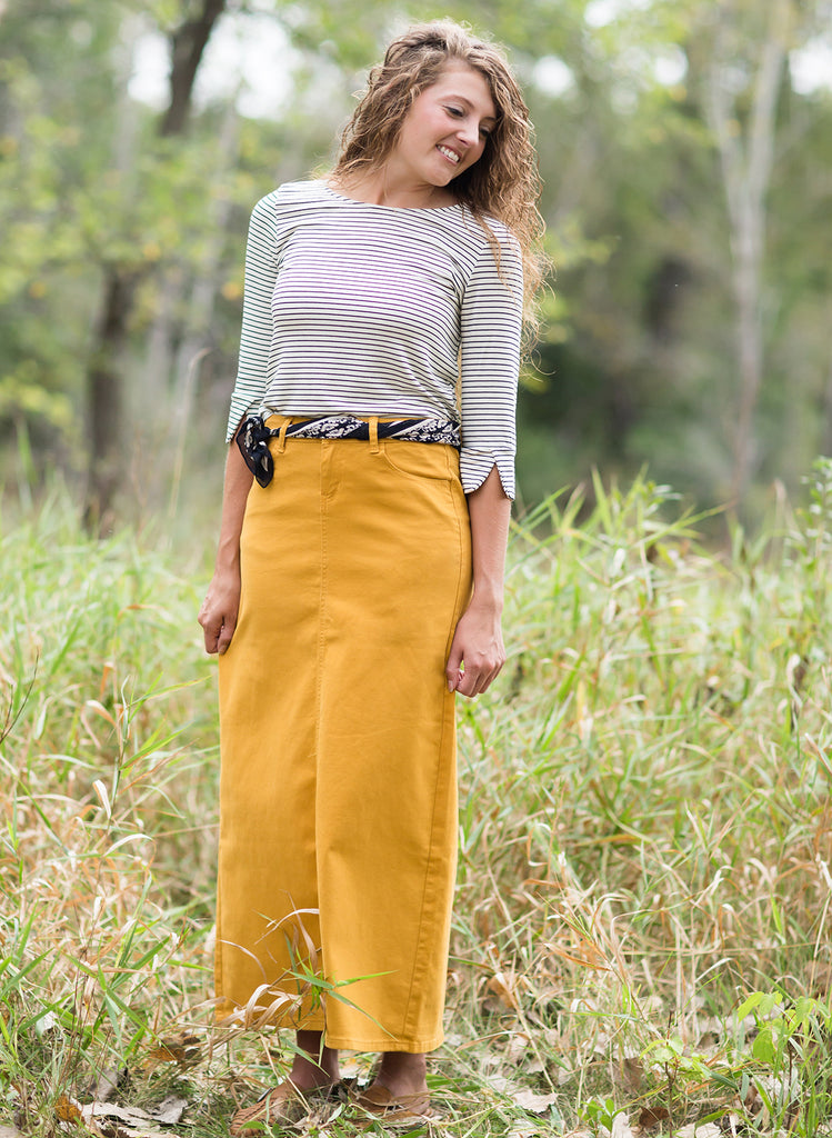 Long modest denim skirts for women
