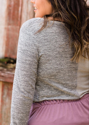 Mixed Media Gray Top