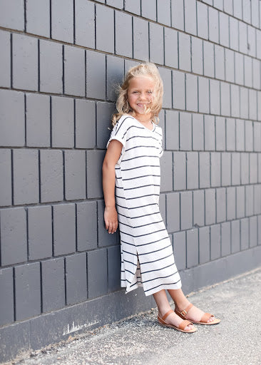 Oatmeal Striped Midi Dress