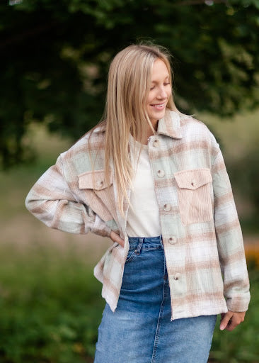 Plaid Shacket with Patch Pocket Detail
