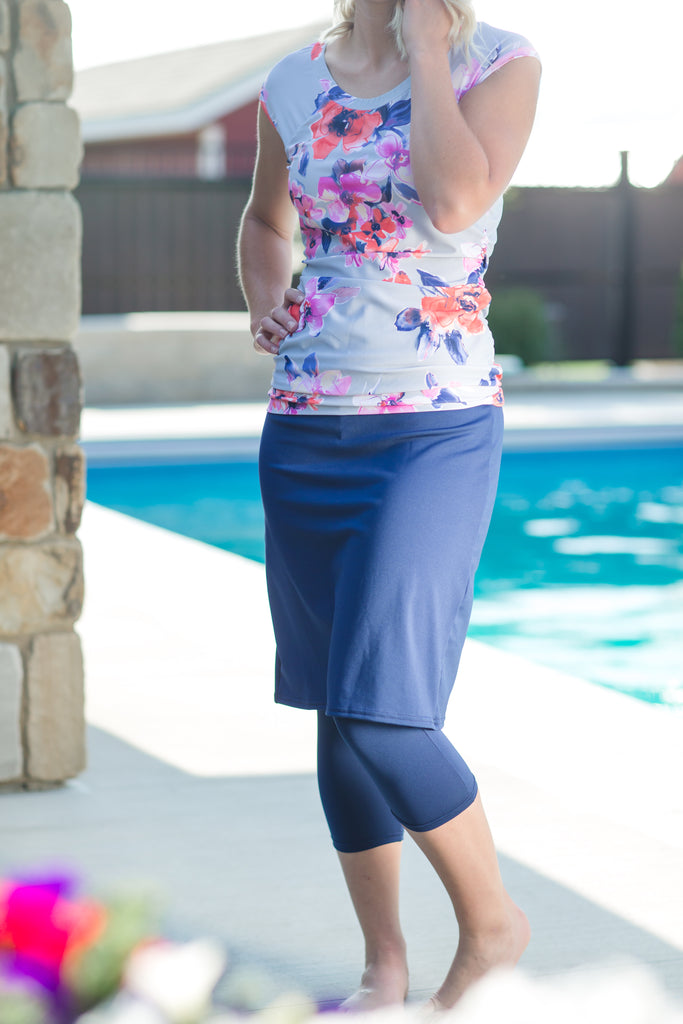 Swim + Sport and Skirt Blue Floral Swim Top
