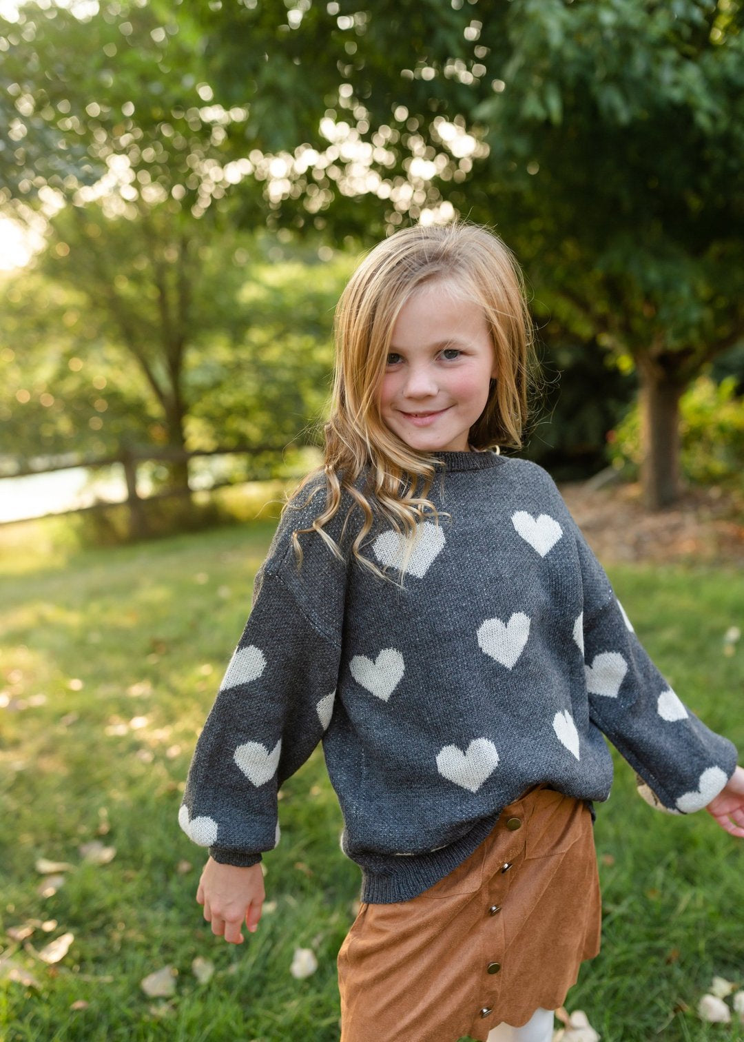 Girls Knitted Heart Pullover Sweater