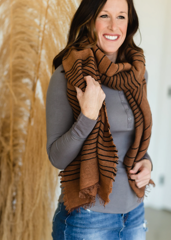 Light Weighted Burnt Orange Striped Scarf