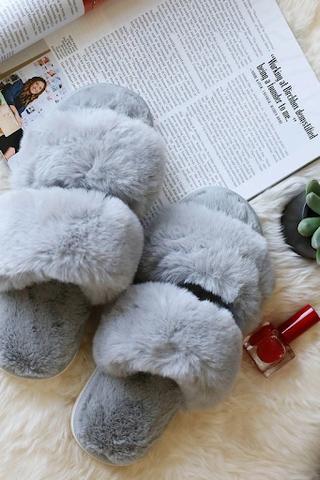 Gray Faux Fur Double Strap Slide Slippers