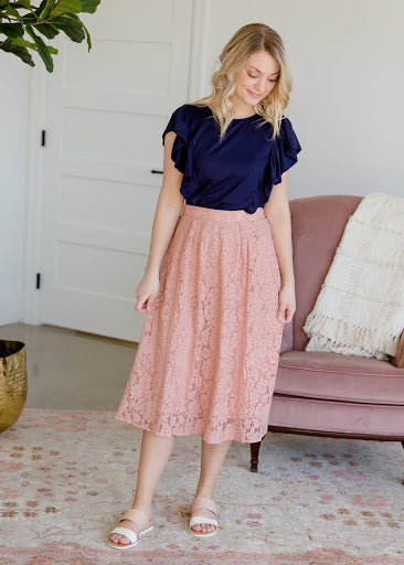 Lace Stretch Waist Midi Skirt