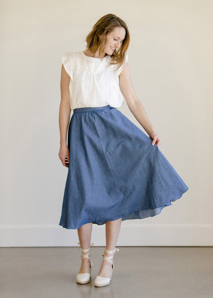 Pleated A-Line Chambray Midi Skirt