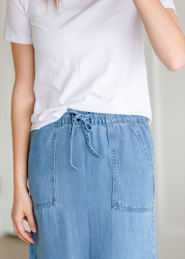 Meadow Drawstring Waist Chambray Long Denim Jean Skirt