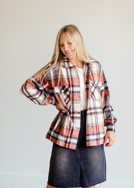 Rust Plaid Button Up Shacket