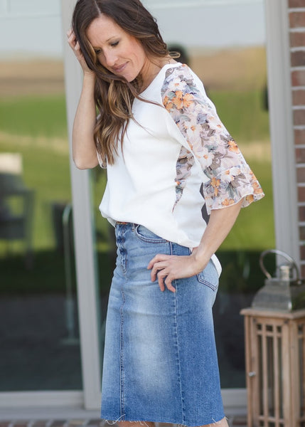 Floral Ruffle Sleeve Ivory Blouse