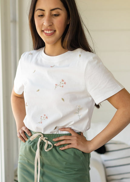 White Dainty Floral Embroidered Top