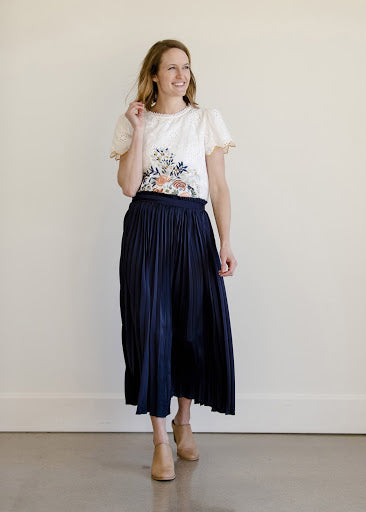 Navy Pleated High Waist Maxi Skirt