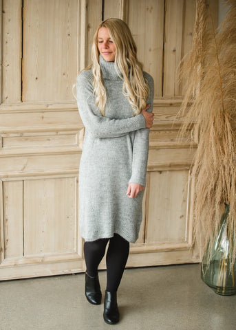Two Tone Gray Sweater Dress