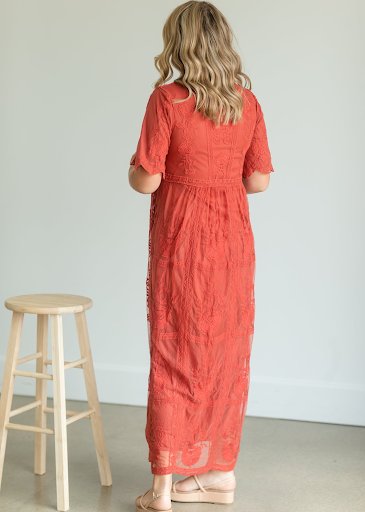 Lace Overlay Bell Sleeve Maxi Dress
