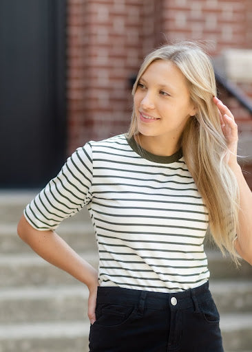 Olive + White Striped ¾ Sleeve Top
