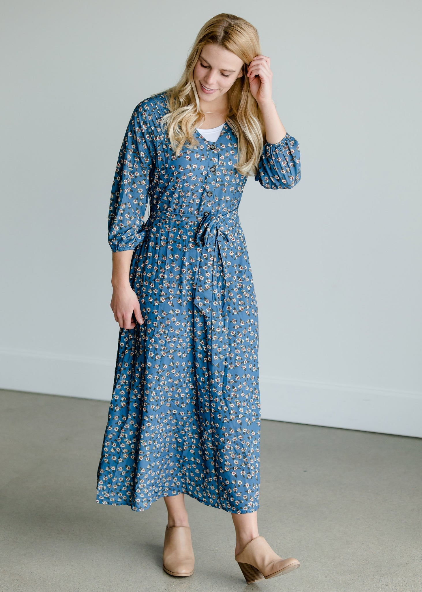Pleated Floral Detail Belted Dress