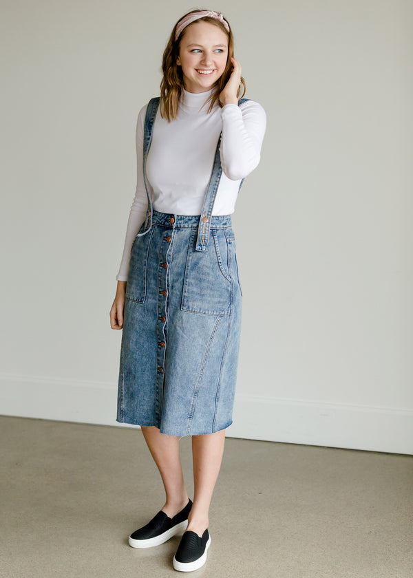 Inherit Co.  | Modest Women's Skirts | Light Denim Pinafore Skirt