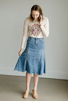 Inherit Co.  | Modest Women's Skirts | Gray Print Below the Knee Skirt |