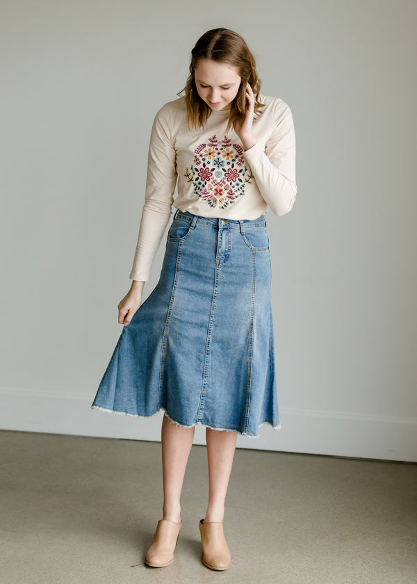 Inherit Co.  | Modest Women's Skirts | High Waist Raw Hem A-Line Skirt