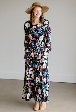 Inherit Co.  | Women's Modest Dresses | Pleated Floral Detail Belted Dress |