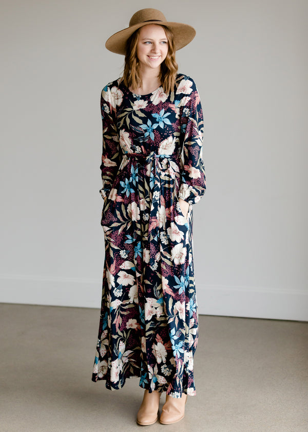 Inherit Co.  | Women's Modest Dresses | Floral Tie Waist Maxi Dress