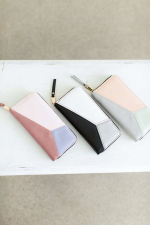Geometric Zip Wallet in blush, purple, black, peach and mint colors