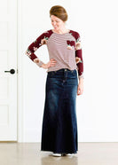 Inherit Co.  | Inherit Originals | Lainey Long Denim Skirt | long a-line denim skirt for modest women