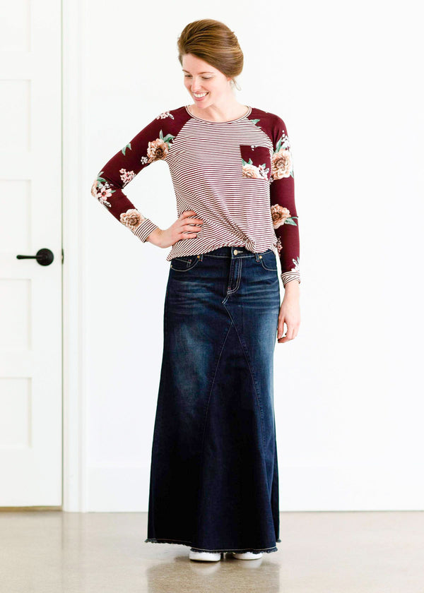 Inherit Co.  | Modest Women's Skirts | Lainey Long Denim Skirt | long a-line denim skirt for modest women