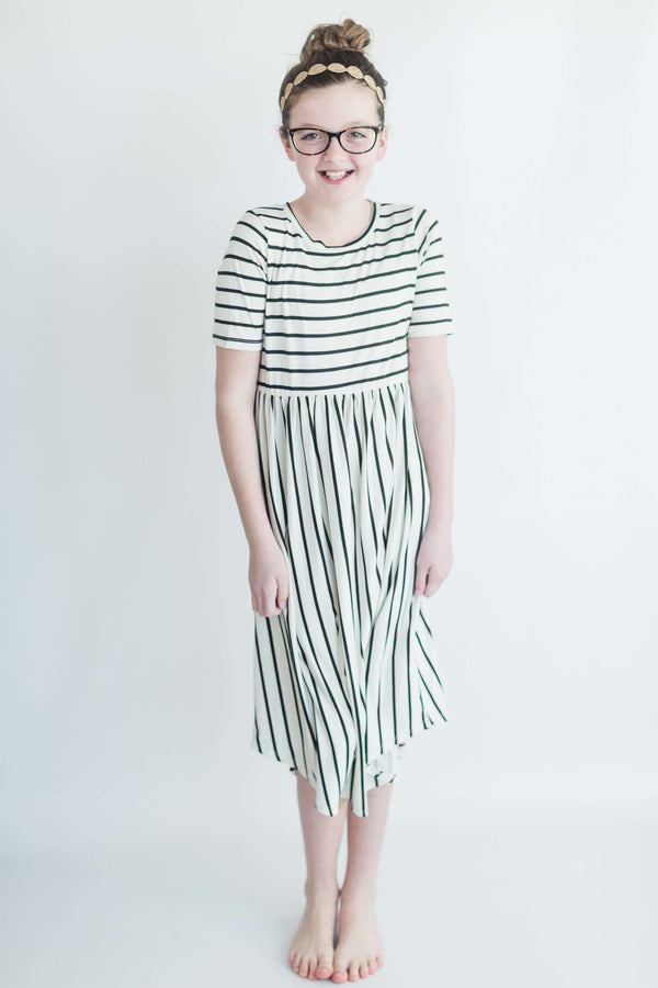 'The Everly' Striped Modest Dress for Girls