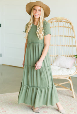 Inherit Co.  | Women's Modest Dresses | Olive Tiered Ruffle Midi Dress |