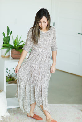 Inherit Co.  | Women's Modest Dresses | White Ruffle Floral Maxi Dress |
