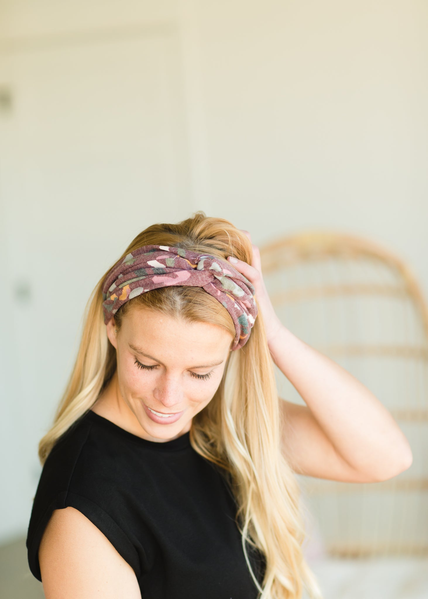 Mauve Abstract Cotton Headband