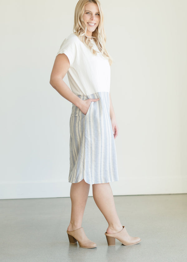Inherit Co.  | Women's Modest Dresses | Linen Mix Stripe Midi Dress