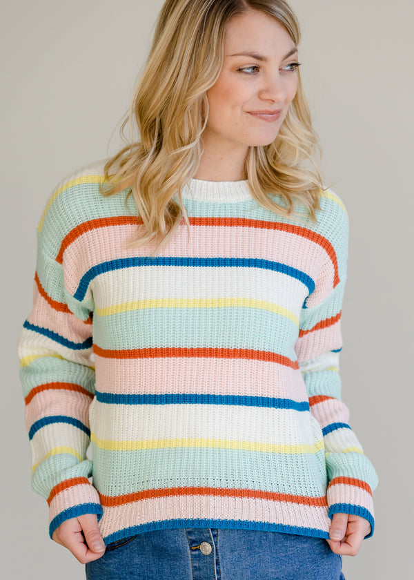 Inherit Co.  | Women's New Arrivals | Multi Mint Striped Sweater