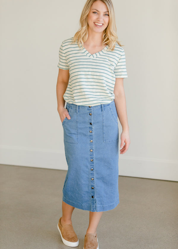 Inherit Co.  | Modest Women's Skirts | Cassidy Button Front Midi Skirt