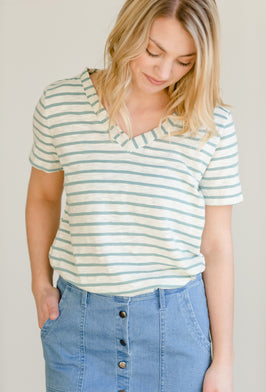 Inherit Co.  | Modest Women's Best Sellers | Minted Girls Baseball Top - FINAL SALE |