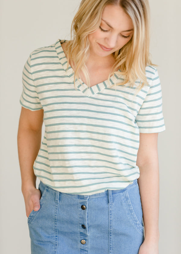 Inherit Co.  | Women's New Arrivals | Stripe Knit V-Neck Tee
