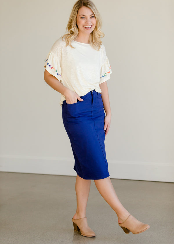 Inherit Co.  | Modest Women's Skirts | Remi Cobalt Blue Midi Skirt