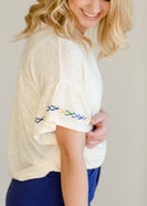 Multi Color Embroidered Ruffle Top - FINAL SALE