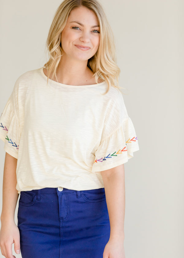 Inherit Co.  | Women's New Arrivals | Multi Color Embroidered Ruffle Top