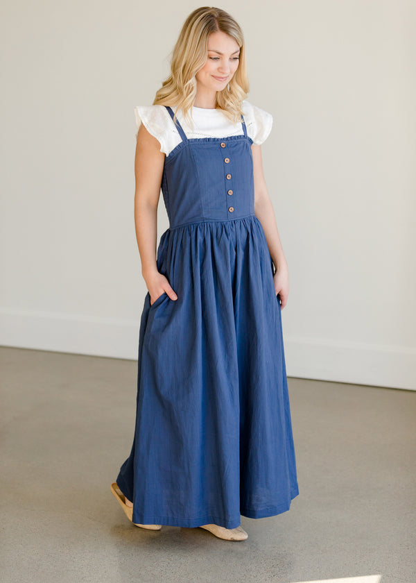 Inherit Co.  | Women's Modest Dresses | Navy Cotton Button Front Smocked Maxi Dress